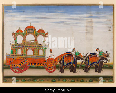 .  English: One of six figures from the Mughal emperor's ceremonial procession on the occasion of the Id. Physical description: A two-tiered carriage drawn by four elephants Place of origin: Delhi, India (painted) Date: ca.1840 (painted) Artist/Maker: Khan, Mazhar Ali (Artist) Materials and Techniques: Gouache Dimensions: Length: 27.5 cm, Width: 37.5 cm  . circa 1840. Khan, Mazhar Ali (Artist) A two-tiered carriage drawn by four elephants - Stock Photo