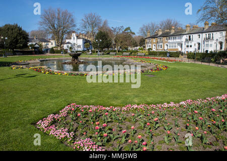 The entrance to the beautiful Prittlewell Square park in Southend-on-Sea, Essex. - Stock Photo