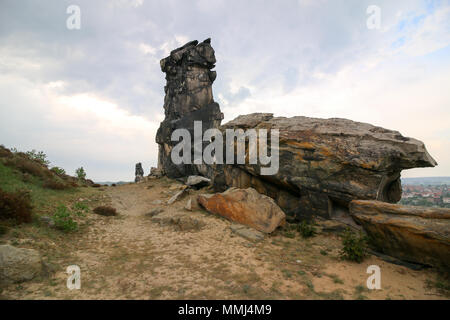 Weddersleben, Germany - May 10, 2018: View of the Devil's Wall in the Harz Mountains, Germany. The Wall of the Devil. The Teufelsmauer runs for about  - Stock Photo