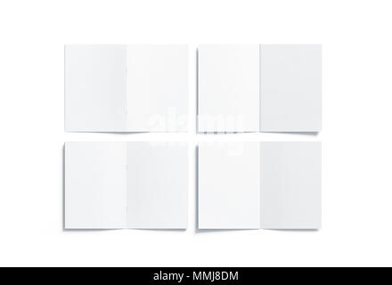 Blank white multi-page a5 booklet mock up, front and back side, all pages top view, 3d rendering. Plain twofold brochures mockups set isolated. Book cover and flier inside, copy space. - Stock Photo