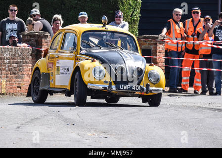 Robert Beales driver Mike Leflay co driver racing VW Beetle in the closed public road Corbeau Seats car Rally Tendring and Clacton, Essex, UK - Stock Photo