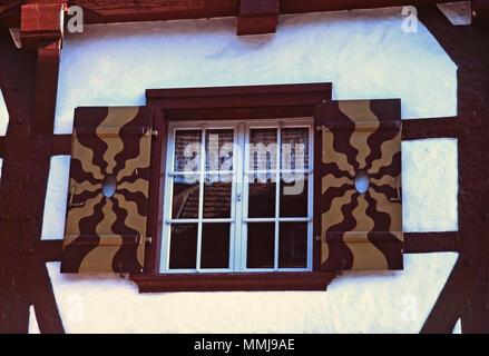 Painted window,Stein am Rhein,Switzerland - Stock Photo