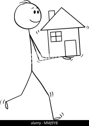 Cartoon of Man Holding House in Hands - Stock Photo