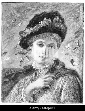 Engraving of a winsome young woman in Victorian dress. From an original engraving in the Girl's Own Paper magazine 1882.