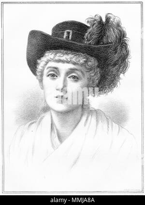 Pointillism portrait of a young woman from the Victorian era. From an original engraving in the Girl's Own Paper magazine 1883. - Stock Photo
