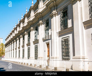 Side street view, La Moneda Presidential Palace, Santiago, Chile, South America - Stock Photo
