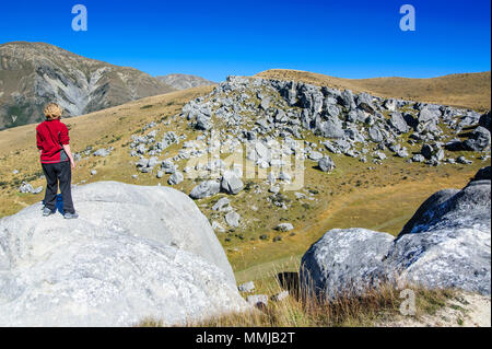 Woman standing on the Limestone outcrops of Castle Hill, South Island, New Zealand - Stock Photo
