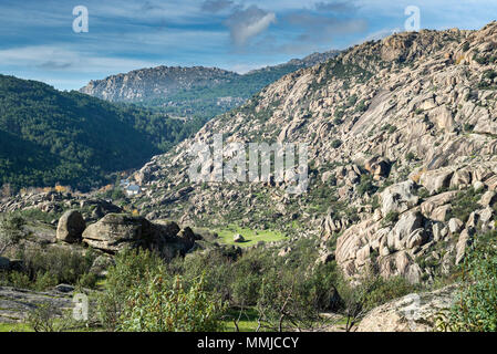 Granitic rock formations in La Pedriza, Guadarrama Mountains National Park, province of Madrid, Spain - Stock Photo