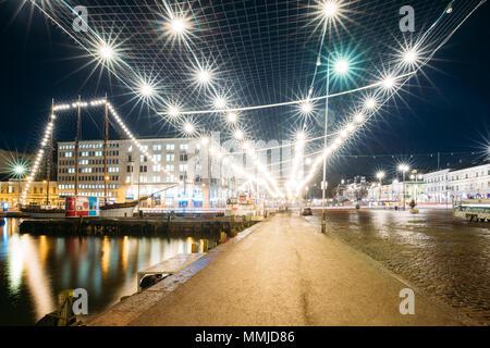 Helsinki, Finland. Evening Night Festive Christmas Xmas New Year Illuminations On Market Square. - Stock Photo