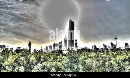 Surreal Cityscape of the Kuwait city under the sun in Kuwait - Stock Photo