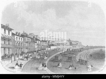 IOW. Esplanade, Ventnor, Isle of Wight 1866 old antique vintage print picture - Stock Photo