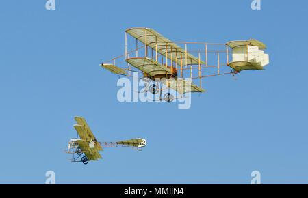 1910 Avro Triplane and Bristol Boxkite both aircraft are replicas built for the film Those Magnificent Men in their Flying Machines (1965) - Stock Photo