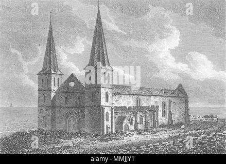 KENT. Reculver Church, Kent 1808 old antique vintage print picture - Stock Photo