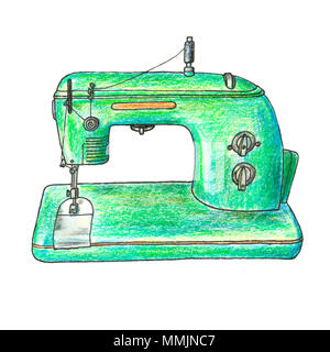 The illustration of retro sewing machine. This is a hand drawn art - Stock Photo