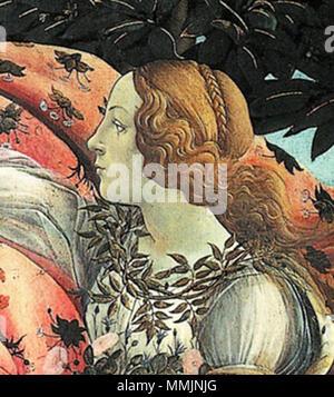 Botticelli Birth of Venus detail Flora - Stock Photo