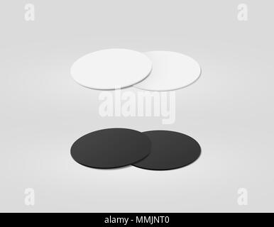Stack of blank white and black textured beer coasters mockup, clipping path, 3d illustration. Round clear mug mat design mock up. Circle cup rug display, 2 side set. Bottle plain coaster - Stock Photo