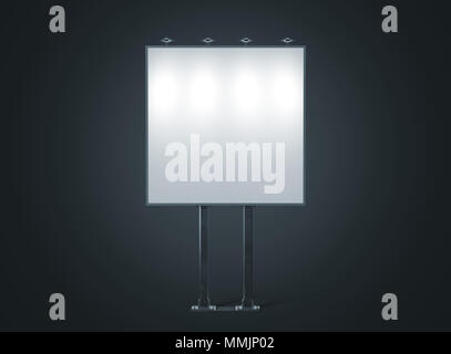 Blank white banner mockup on square city billboard at night 3d rendering. Empty bill board mock up isolated. Clear light canvas on street sign. Outdoor poster screen. Big illuminated cityboard signage - Stock Photo