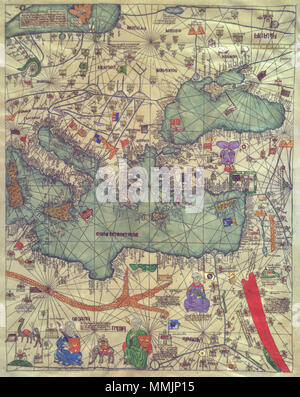 . English: Map of eastern Europe, view from the south. Catalan Atlas. By Abraham Cresques (died 1387) with his son Jehuda  . 1375. Abraham Cresques (died 1387) with his son Jehuda Cresques Abraham and Jehuda Cresques Catalan Atlas. Eastern Europe view from the south