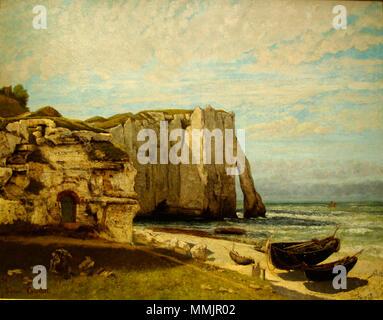 Cliffs at Etretat after the storm (La falaise d'Étretat après l'orage). 1870. Gustave Courbet-Cliffs at Etretat after the storm-1870 - Stock Photo