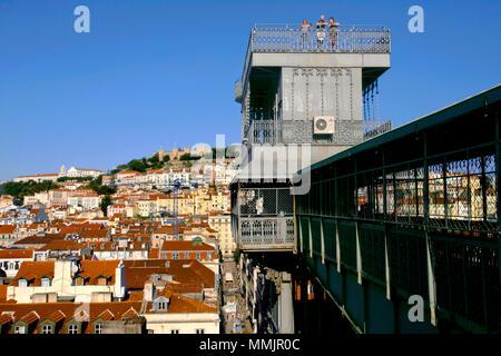 Enjoying the views from the top of the Santa Justa Lift / Elevador de Santa Justa, Lisbon, Portugal - Stock Photo