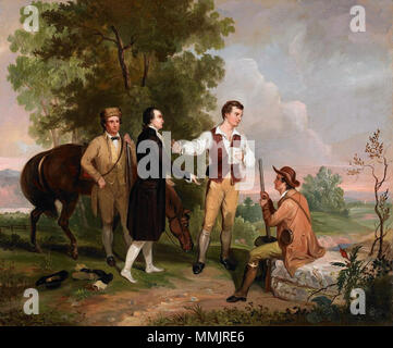 .  English: The image depicts Major John André, a British spy being detained by armed militia men in New York. The painting displays a lush landscape which Durand is best remembered for.  The Capture of Major André. 1845. Asher Brown Durand's The Capture of Major Andre - Stock Photo