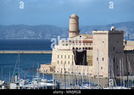 Fort Saint-Jean or Saint John's Fort, part of the MUCEM Museum at the Entrance to the Vieux Port or Old Port Marseille or Marseilles France - Stock Photo