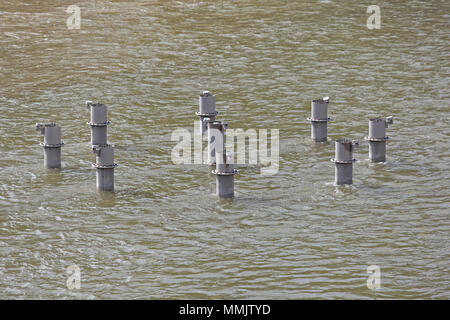 Fountain Nozzles Pipes in Lake Water - Stock Photo