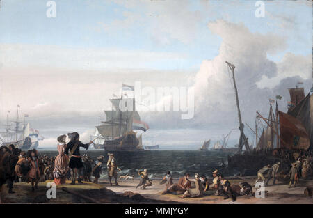 Dutch ships in the roadstead of Texel; in the middle the 'Gouden Leeuw,' the flagship of Cornelis Tromp. 1671. Dutch ships in the roadstead of Texel (the 'Gouden Leeuw' of Cornelis Tromp in the center)(Ludolf Backhuysen, 1671) - Stock Photo