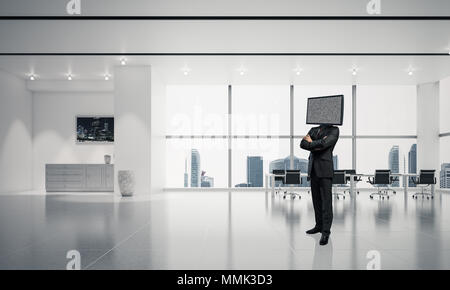 Businessman in suit with TV instead of head keeping arms crossed while standing inside office building. 3D rendering. - Stock Photo