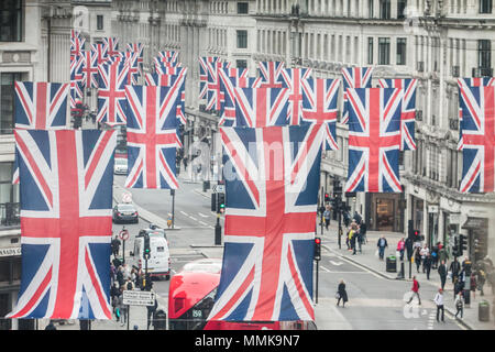 London UK. 12th May 2018. A colourful display of Union Jack flags hang the length of Regent Street to celebrate the wedding of Prince Harry and Meghan Markle at Windsor on 19th May Credit: amer ghazzal/Alamy Live News  - Stock Photo