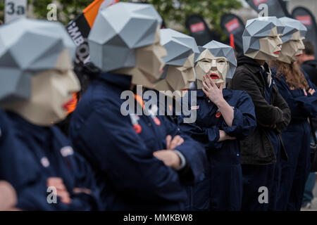 London, UK. 12th May 2018. Maybots of the GNB union lead the way - TUC deal for working people -- march, demo & rally. Starting on the Embankment and ending with speeches in Hyde Park. They are marching for a growing economy; For a £10ph minimum wage; For better and free public services; And against racism, sexism and discrimination. Credit: Guy Bell/Alamy Live News - Stock Photo