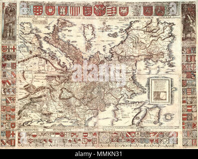 . Map of Europe drawn by Martin Waldseemueller dedicated to godly Emperor, the devotional the beatifical great Charles V (Emperor of the Holy Roman Empire 1519–1556); Map has south direction on top edge of the sheet, scanned map got stamped and watermarked.  . 1520.   Martin Waldseemüller (1470–1520)   Alternative names Martin Hylacomylus  Description German cartographer and cosmographer  Date of birth/death circa 1470 16 March 1520  Location of birth/death Wolfenweiler bei Freiburg im Breisgau Saint-Dié-des-Vosges  Authority control  : Q57197 VIAF:27366067 ISNI:0000 0001 2100 1609 LCCN: - Stock Photo