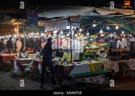 Night food market Marrakesh Medina - Stock Photo