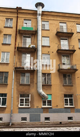 Air Duct on the front of an apartment house - Stock Photo