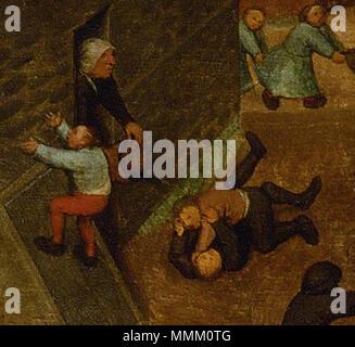 .  Deutsch: Eine alte Frau schüttet einen Eimer Wasser über zwei Raufbolde. Detail aus Die Kinderspiele  Children's Games. circa 1560. Frau mit Eimer (Kinderspiele) - Stock Photo