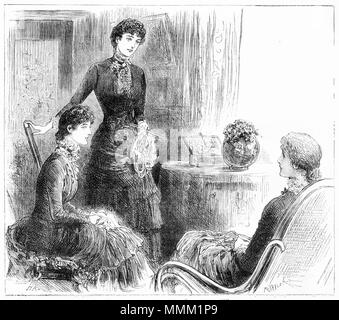 Engraving of three young women in Victorian dress at a meeting in the parlour. From an original engraving in the Girl's Own Paper magazine 1883. - Stock Photo