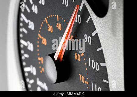 speedometer of a truck at cruising speed of 80 km/h - Stock Photo