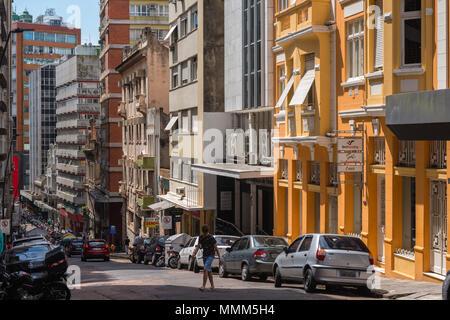 Daily life in the busy city centre, colonial buildings, multi-storey buildings, Porto Alegre, Rio Grande do Sul, Brazil, Latin America - Stock Photo