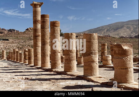 Pillars of the Romans in the Necropolis of Petra, Jordan, middle east - Stock Photo
