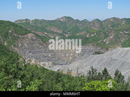 view over opencast coal mine  north-east Hebei, China       May 2016 - Stock Photo