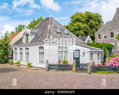 Front of wooden house in historic old village Broek in Waterland, North Holland, Netherlands - Stock Photo