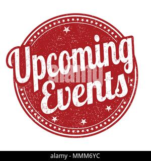 Upcoming events grunge rubber stamp on white background, vector illustration - Stock Photo