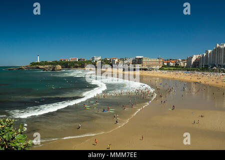 Panorama of the Biarritz beach in France during the sunny summer day. - Stock Photo