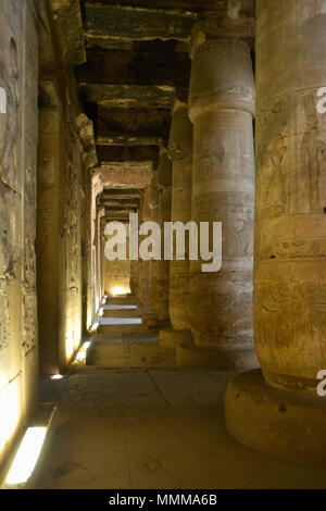 Egypt. Abydos. Temple of Seti I. New Kingdom. 19th Dynasty. The First Hypostyle Hall. 1292-1189 BC. - Stock Photo