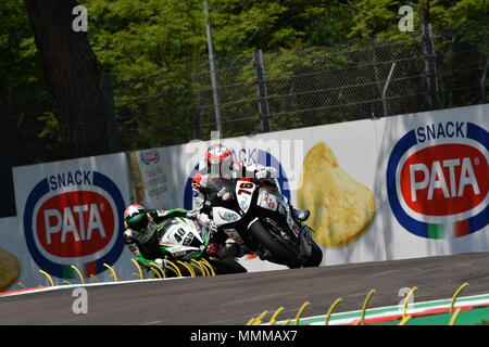 San Marino Italy - May 11, 2018: Loris Baz FRA BMW S 1000 RR GULF ALTHEA BMW Racing Team, in action during the Superbike Qualifying session on May 11, - Stock Photo