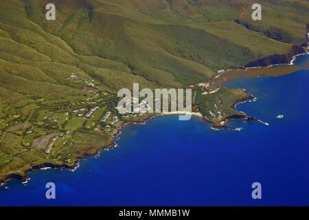 Aerial view of Hulopoe Beach and Puu Pehe or Sweetheart Rock, Lanai Island, Hawaii, USA - Stock Photo