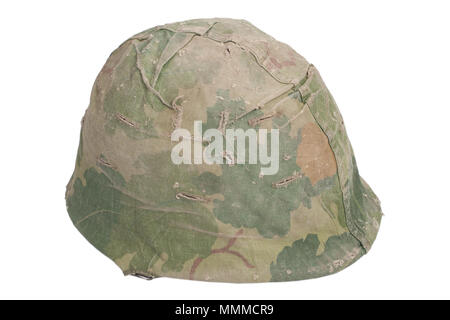 US Army M1 helmet with mitchell pattern camouflage cover Vietnam war period - Stock Photo
