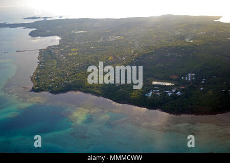 Aerial view of Wallis Island, Wallis & Futuna, South Pacific - Stock Photo