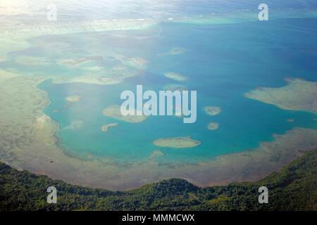 Aerial view of reefs around Wallis Island, Wallis & Futuna, South Pacific - Stock Photo
