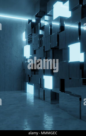 3d rendering of abstract background with blue light and stacked glass cubes - Stock Photo